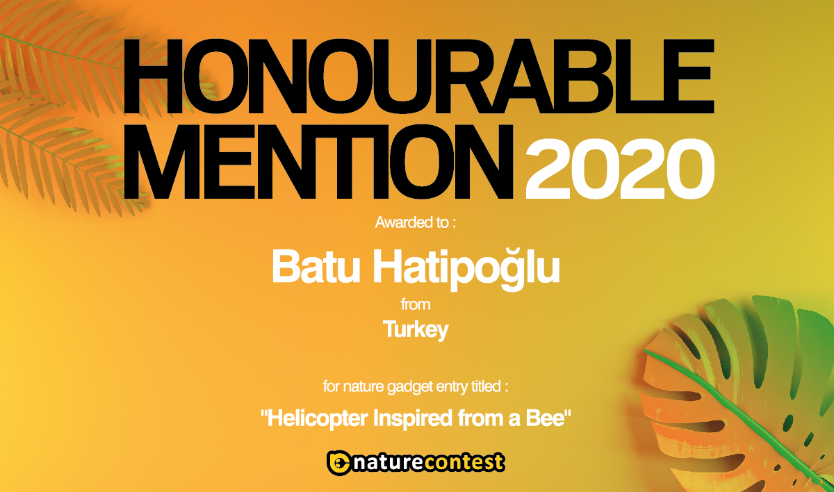 The Winner of Nature Contest 2020 Turkey is Batu Hatipoğlu with the Project 'Helicopter Inspired From A Bee'