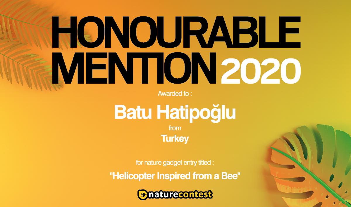 """Nature Contest 2020 Türkiye Birincisi """"Helıcopter Inspıred From A Bee"""" Projesiyle Doğuş Üniversitesi Öğrencisi Batu Hatipoğlu Oldu."""