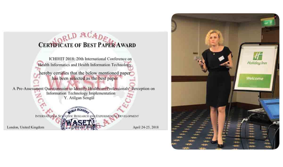 Dr.Öğr.Üyesi Yasemin Şengül ICHIHIT 2018'de En İyi Makele Ödülüne Layık Görüldü